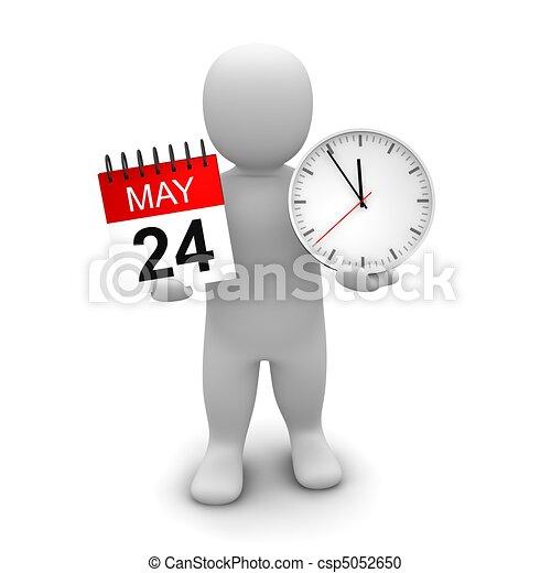 Hombre sosteniendo reloj y calendario. 3d ilustrado. - csp5052650