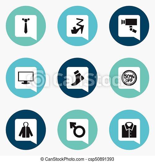Son 9 iconos de negocios editables. Incluye símbolos como corbata, medias, rebajas y más. Puede usarse para web, móvil, UI y diseño gráfico. - csp50891393