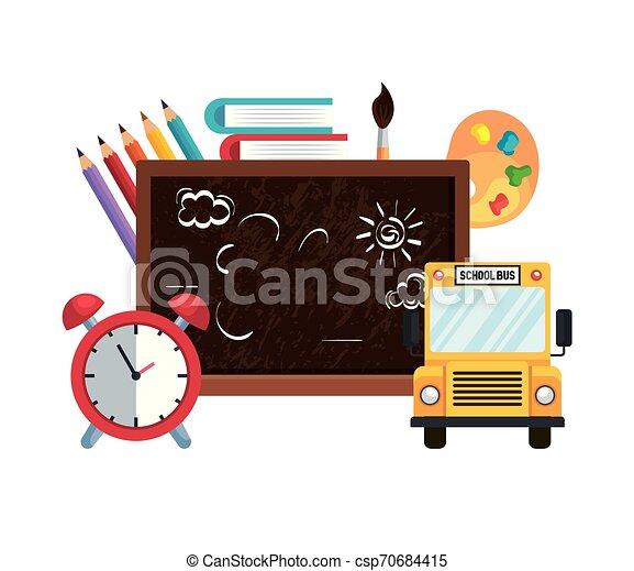 Tiza de la escuela con despertador y autobús - csp70684415
