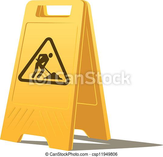 Hombres en el trabajo señal de precaución - csp11949806
