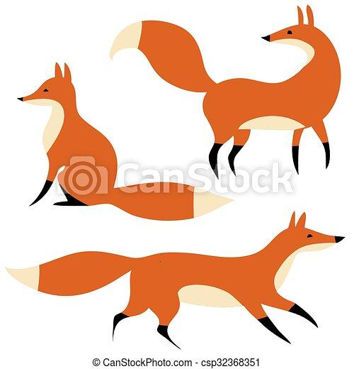 Tres zorros rojos en movimiento - csp32368351