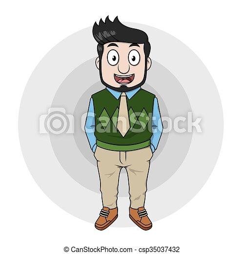 Hombre de negocios usando chaqueta verde - csp35037432