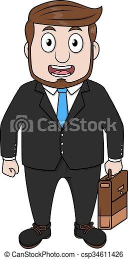 Hombre de negocios usando abrigo - csp34611426