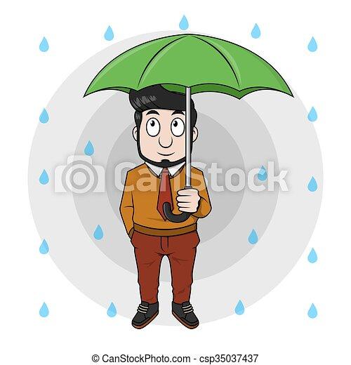 Hombre de negocios usando paraguas - csp35037437